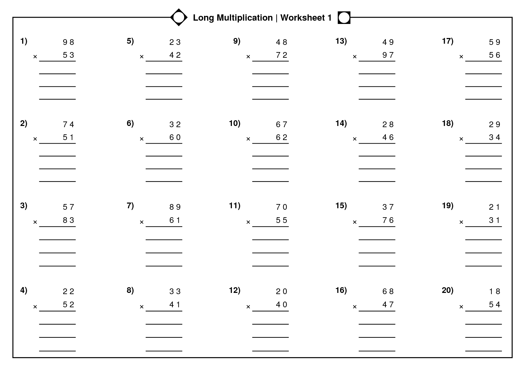 Long Multiplication Worksheets Grade 4
