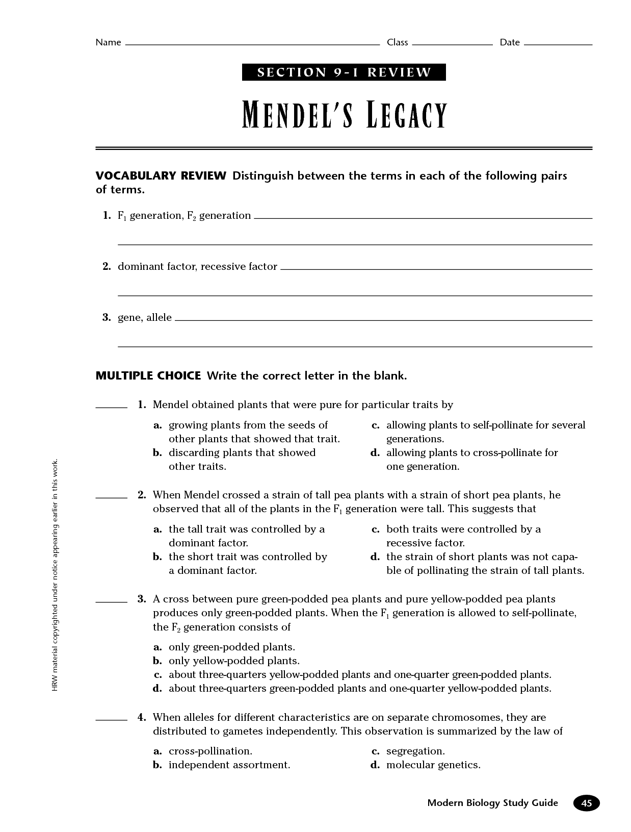 Mendel Genetics Worksheet