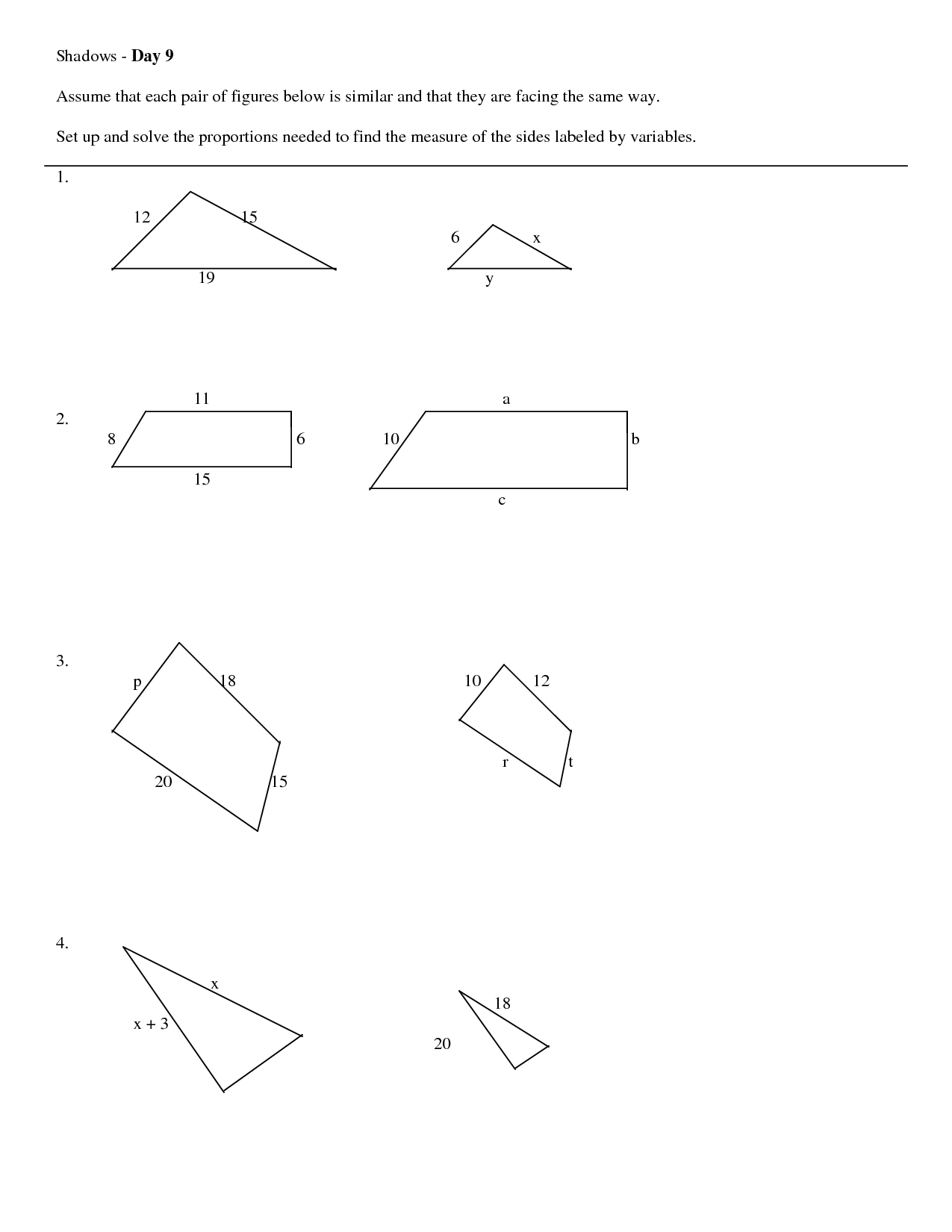11 Best Images Of Similar Triangles Worksheet Middle School