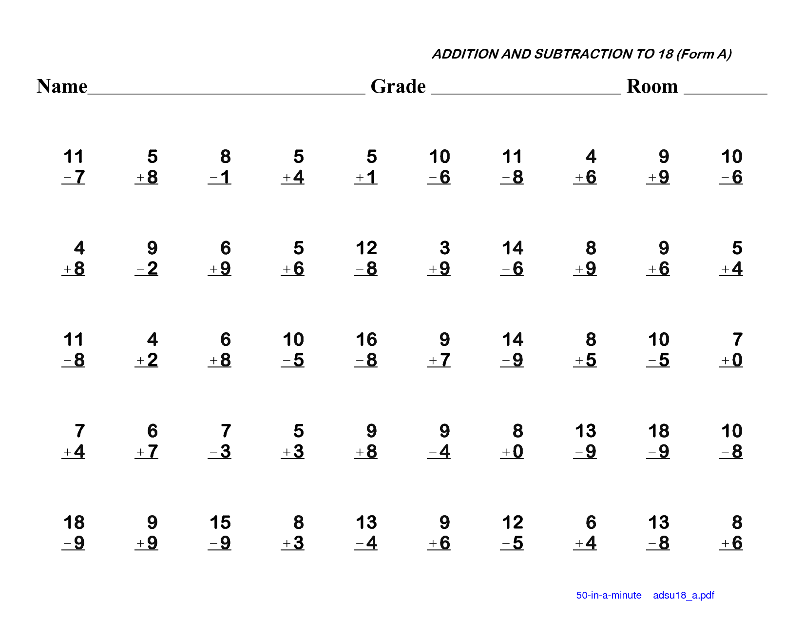 12 Best Images Of First Grade Subtraction Math Worksheets
