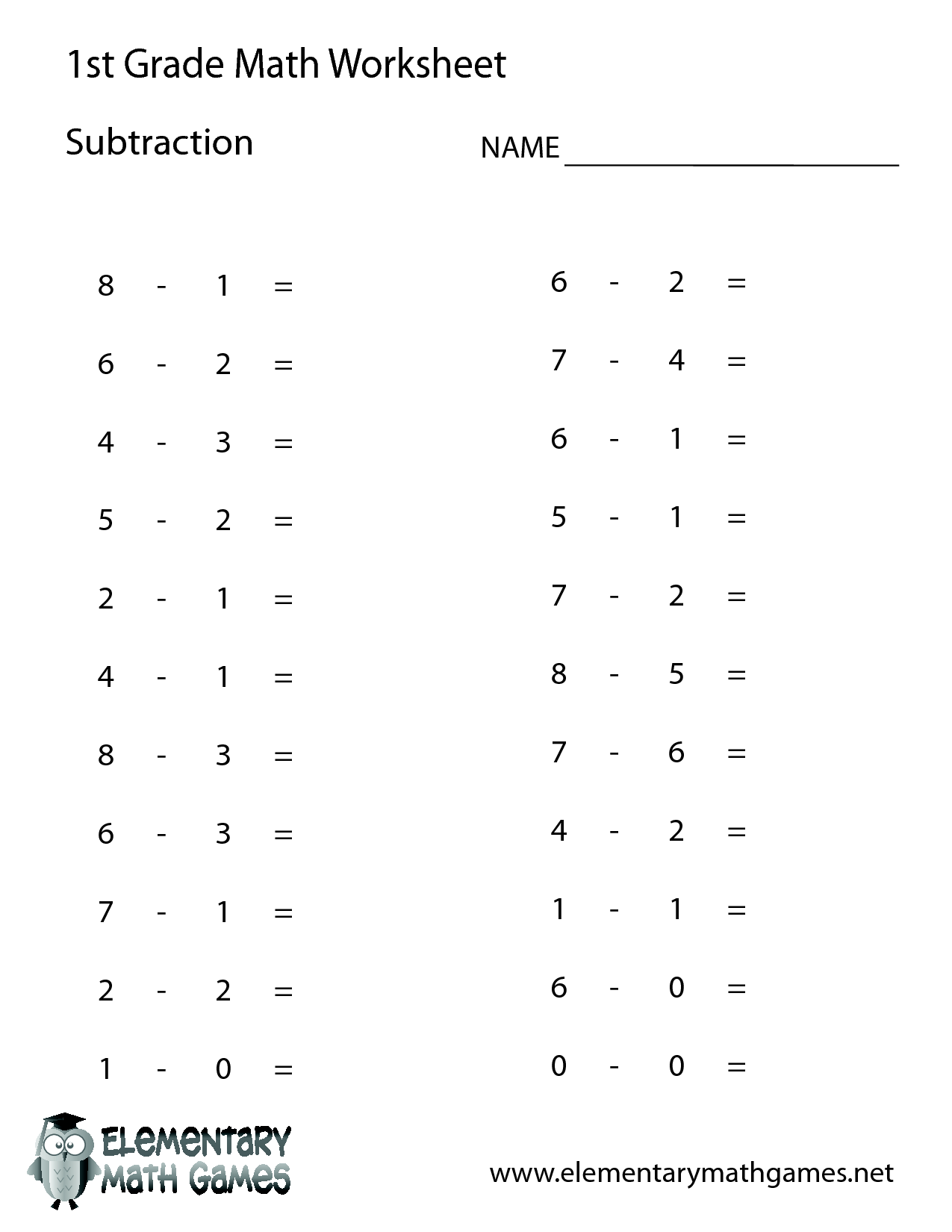 1st Grade Worksheet Category Page 4