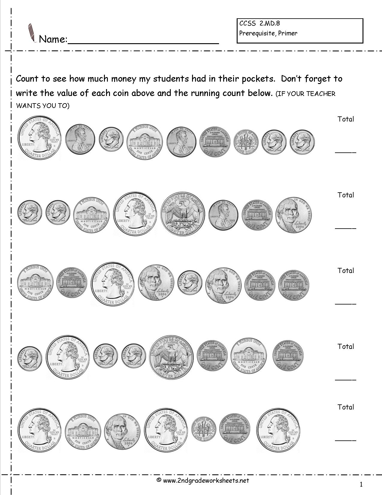 11 Best Images Of Coin Addition Worksheet
