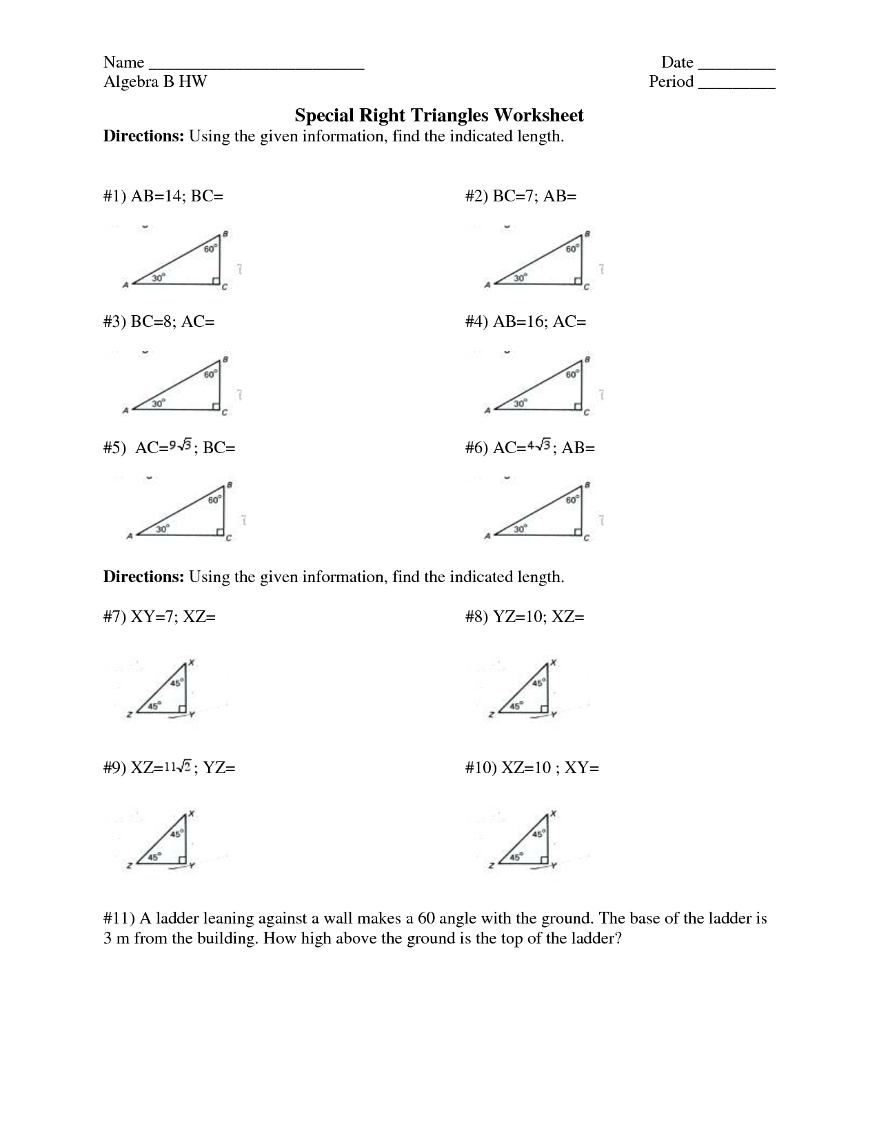 14 Best Images Of Solving Right Triangles Worksheet