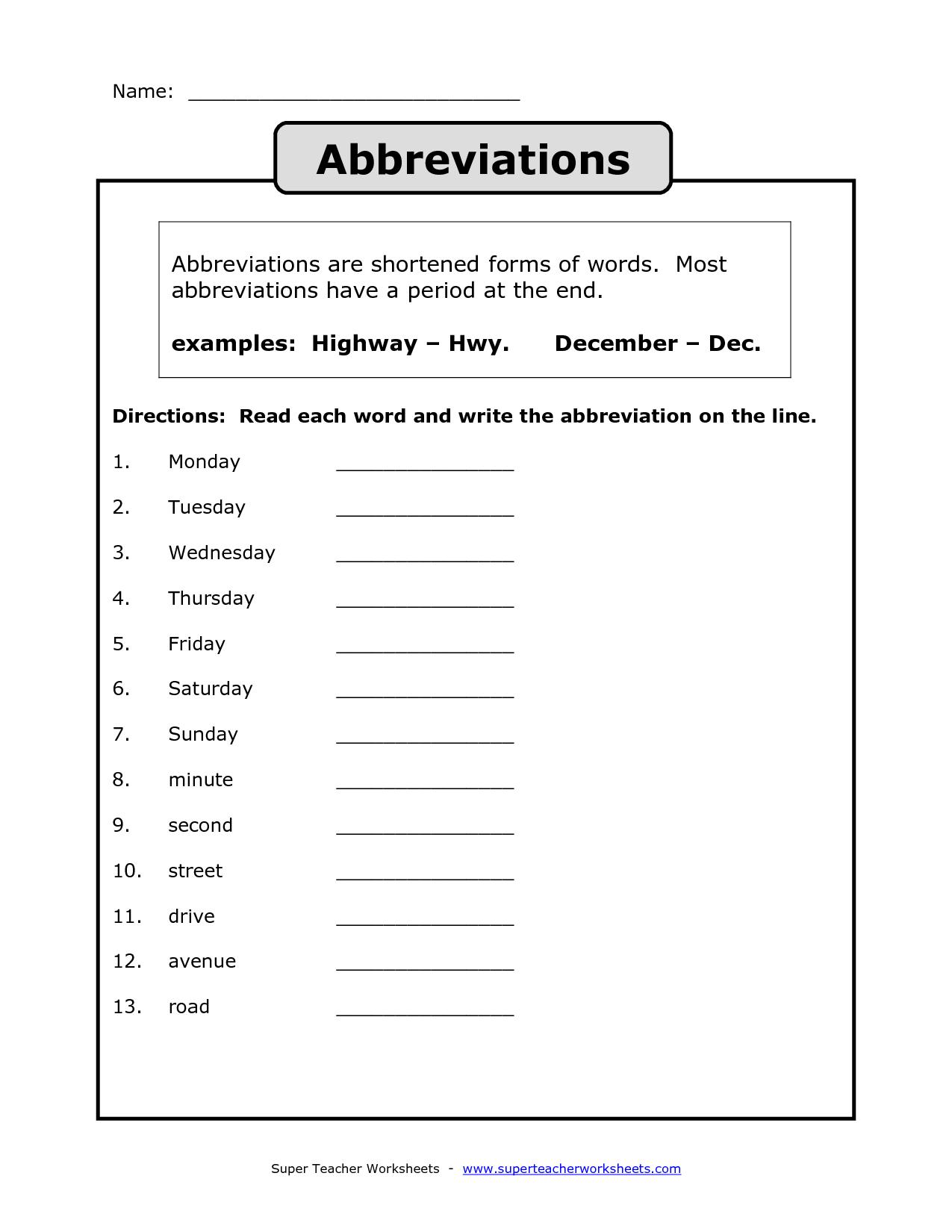 Abbreviation Worksheet Printable
