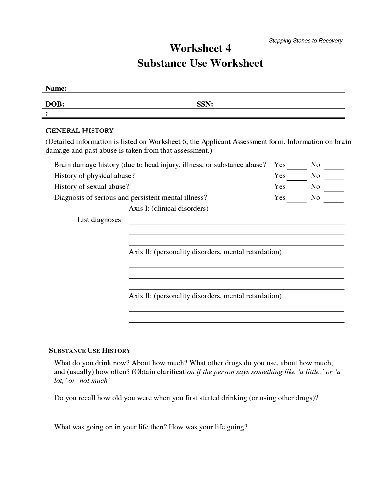 Self Help Worksheet Relapse Prevention