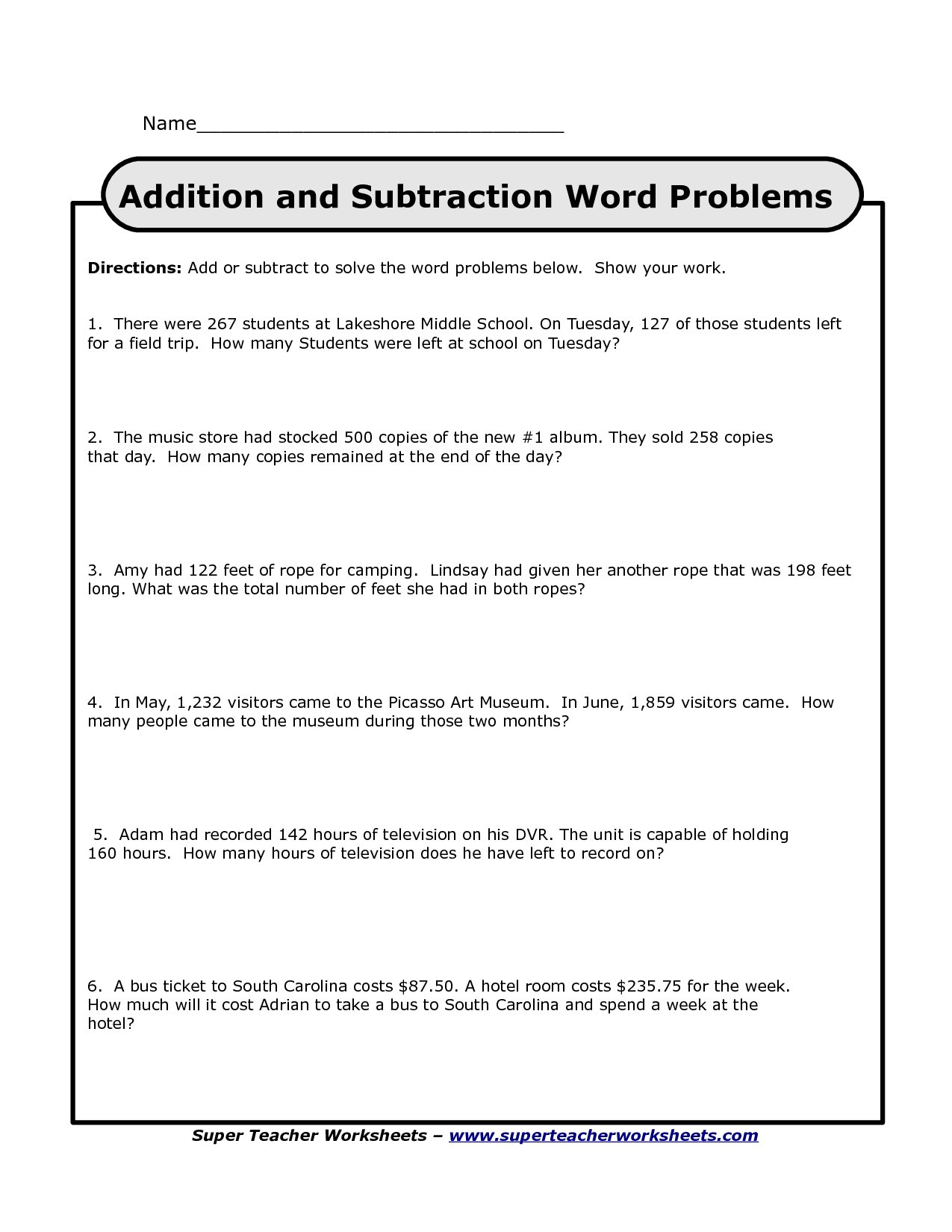 14 Best Images Of Addition And Subtraction Word Problem