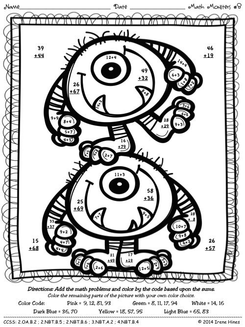 3 Digit Addition Coloring Page Sketch Coloring Page