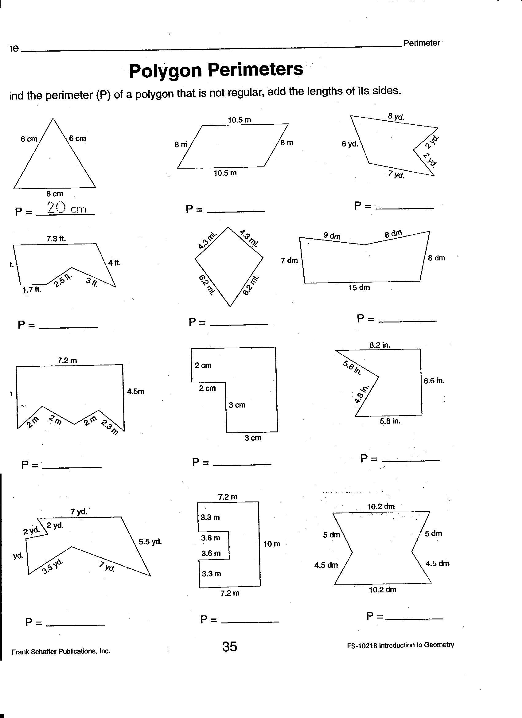 Primeter Worksheet