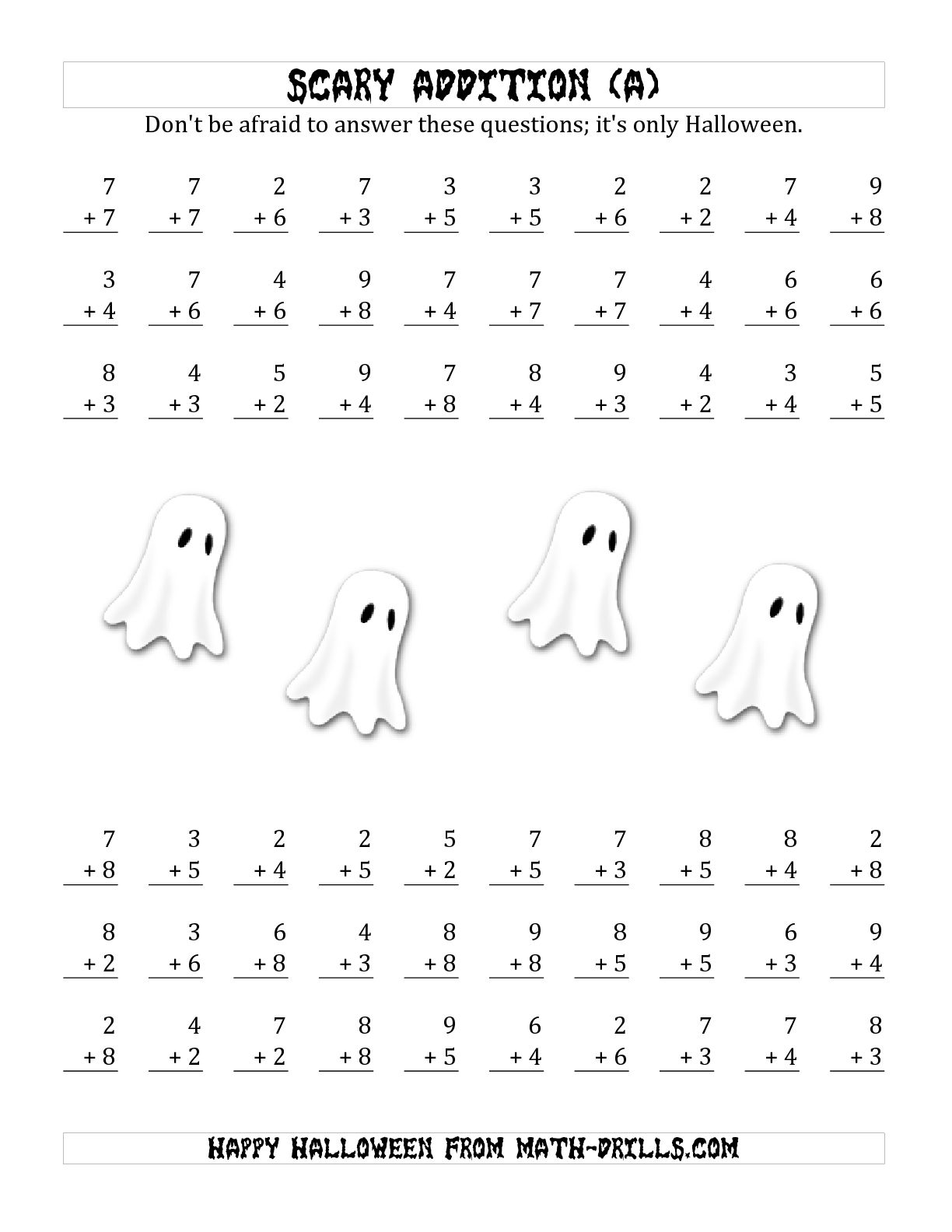 13 Best Images Of Halloween Addition Worksheets