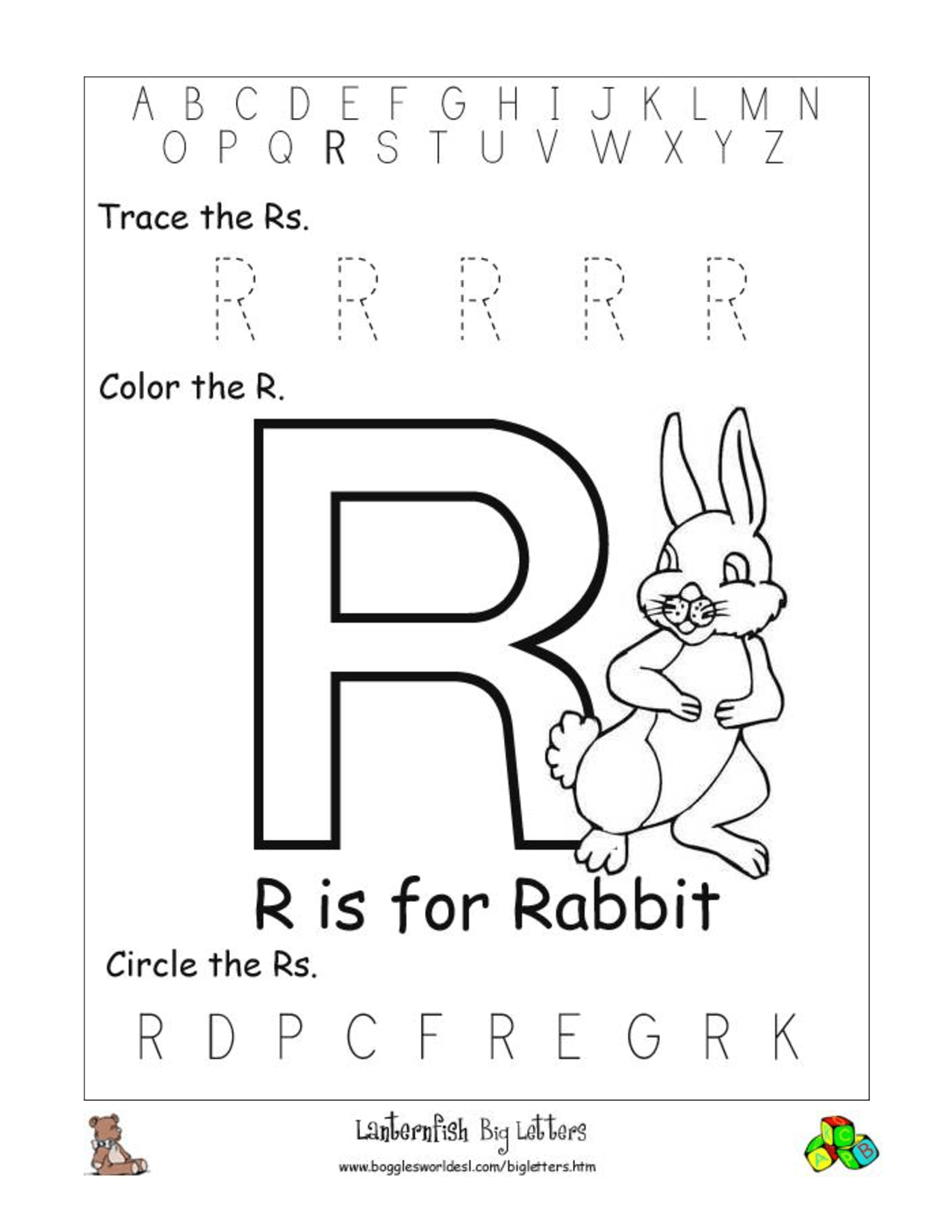 12 Best Images Of Letter R Recognition Worksheets