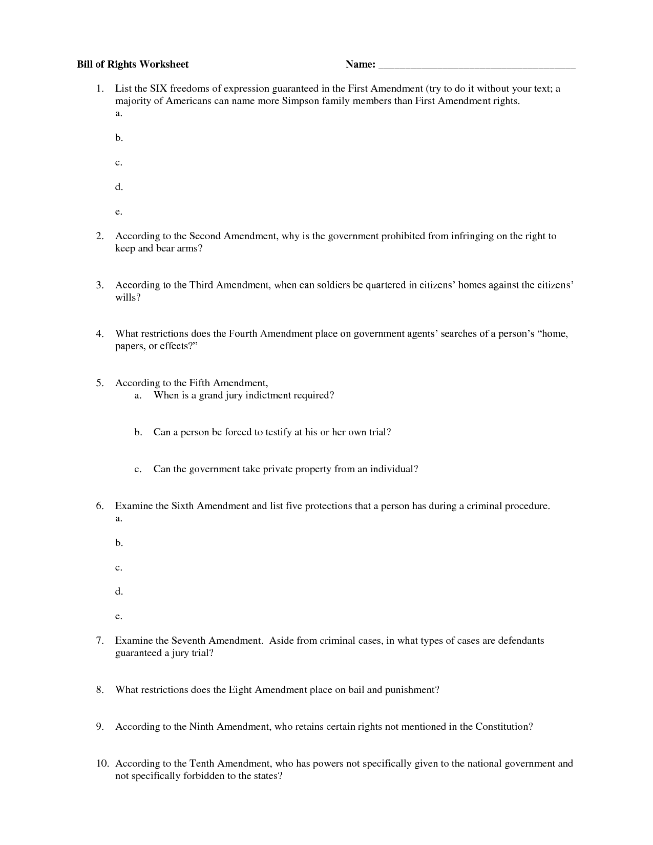 hight resolution of Bill Of Rights Quiz Worksheet   Printable Worksheets and Activities for  Teachers