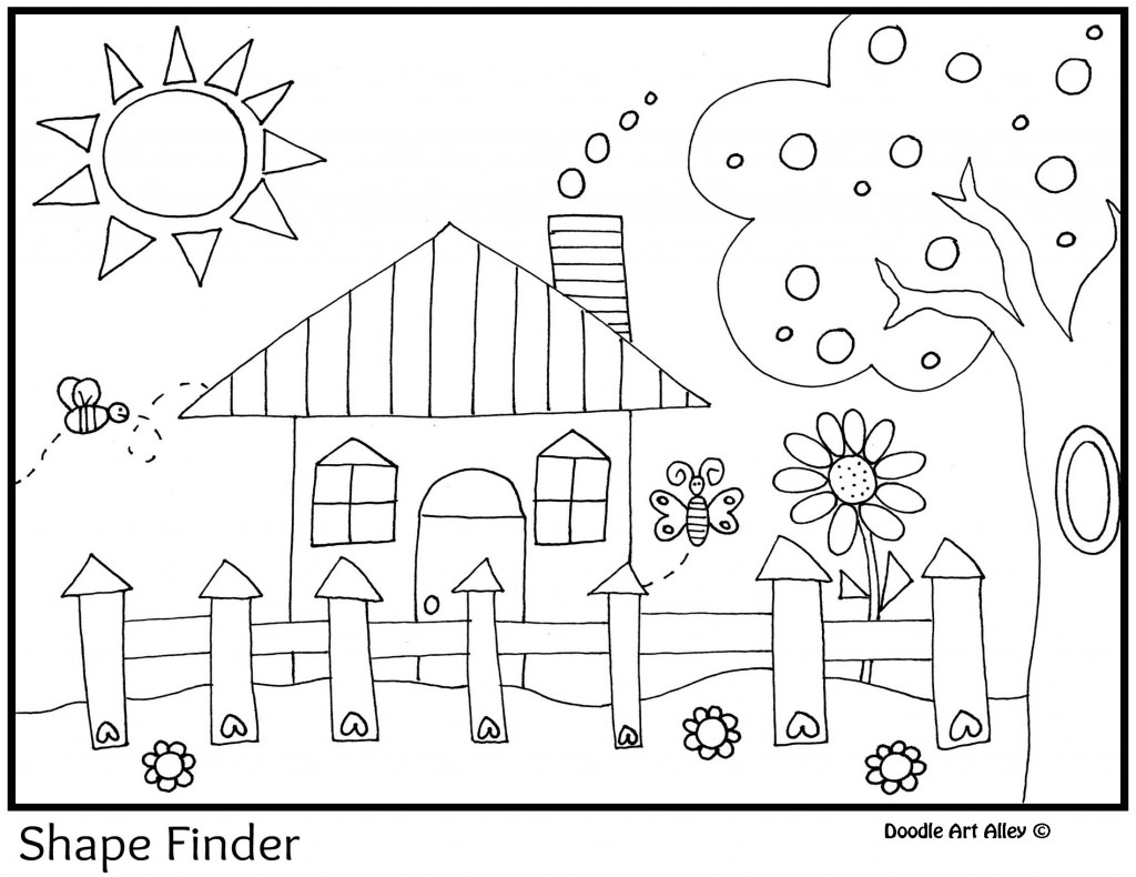Hidden Shapes Worksheet Sketch Coloring Page
