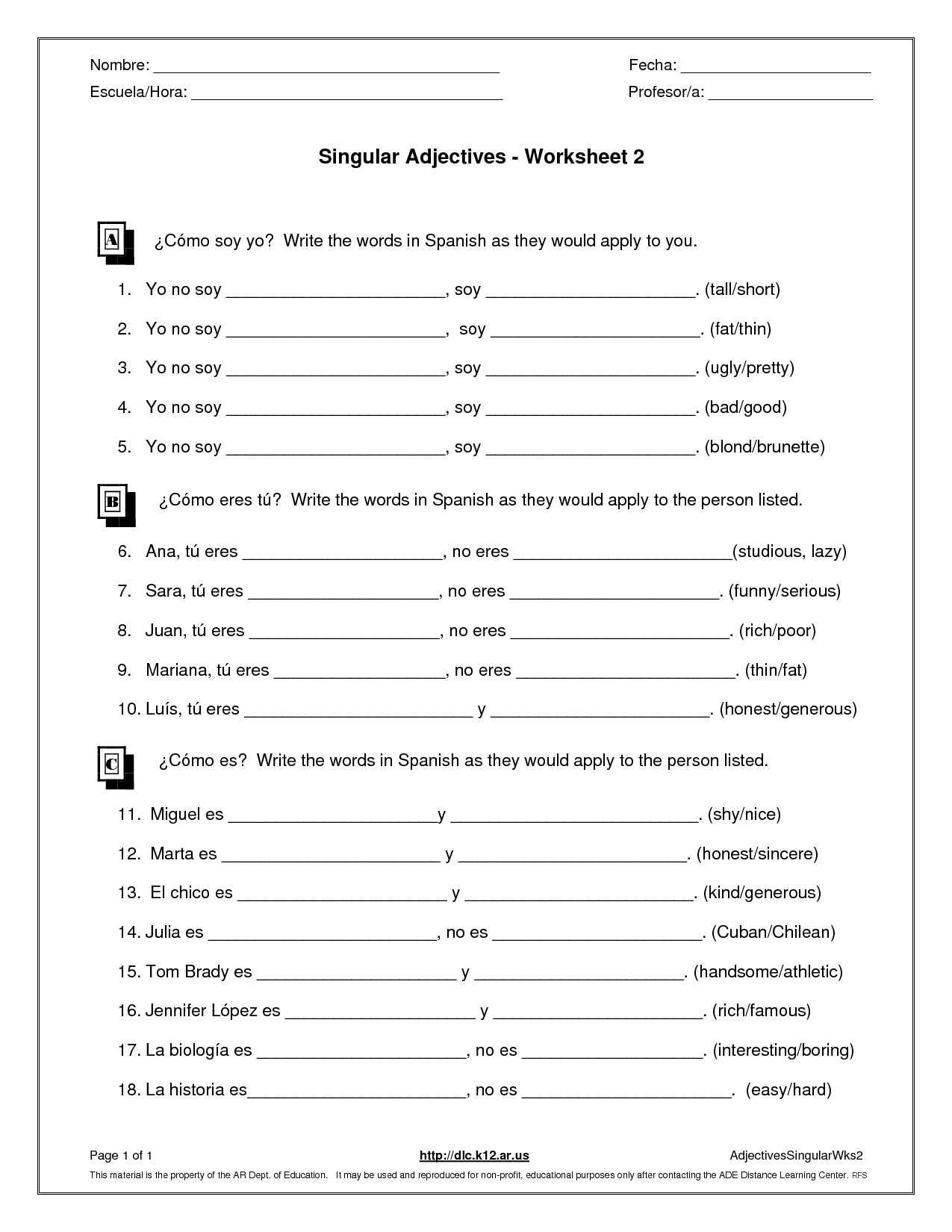 Worksheet French Possessive Adjectives