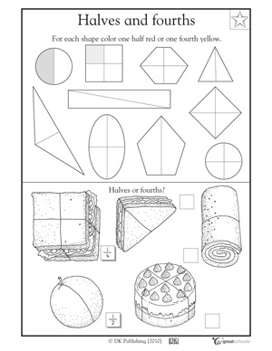 12 Best Images of Halves And Fourths Worksheets First