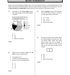 Math Review Worksheets   Printable Worksheets and Activities for Teachers [ 1650 x 1275 Pixel ]