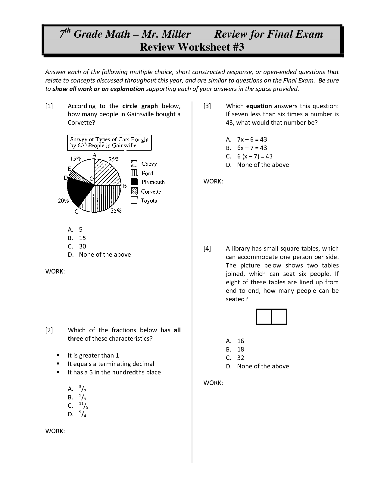 hight resolution of Math Review Worksheets   Printable Worksheets and Activities for Teachers