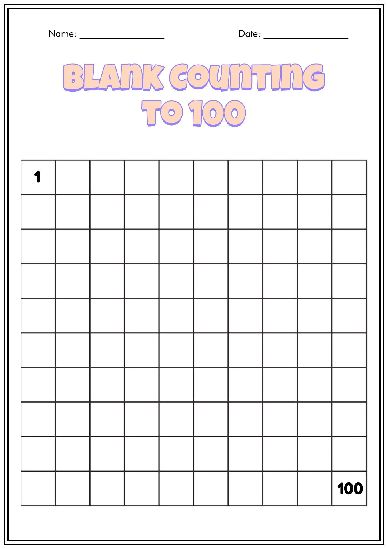 12 Best Images Of Blank Kindergarten Numbers 1 100