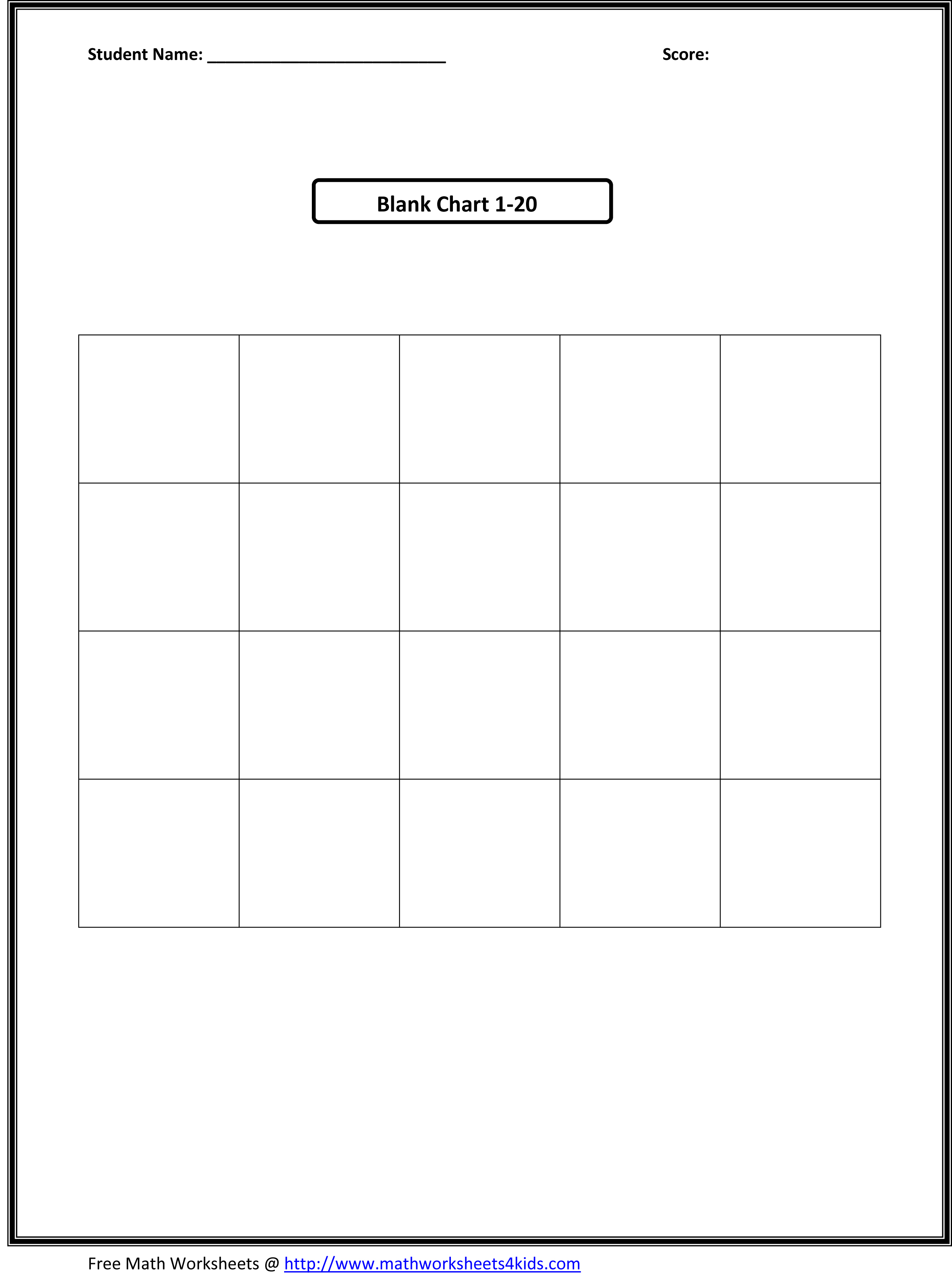 12 Best Images Of Blank Kindergarten Numbers 1 100 Worksheets