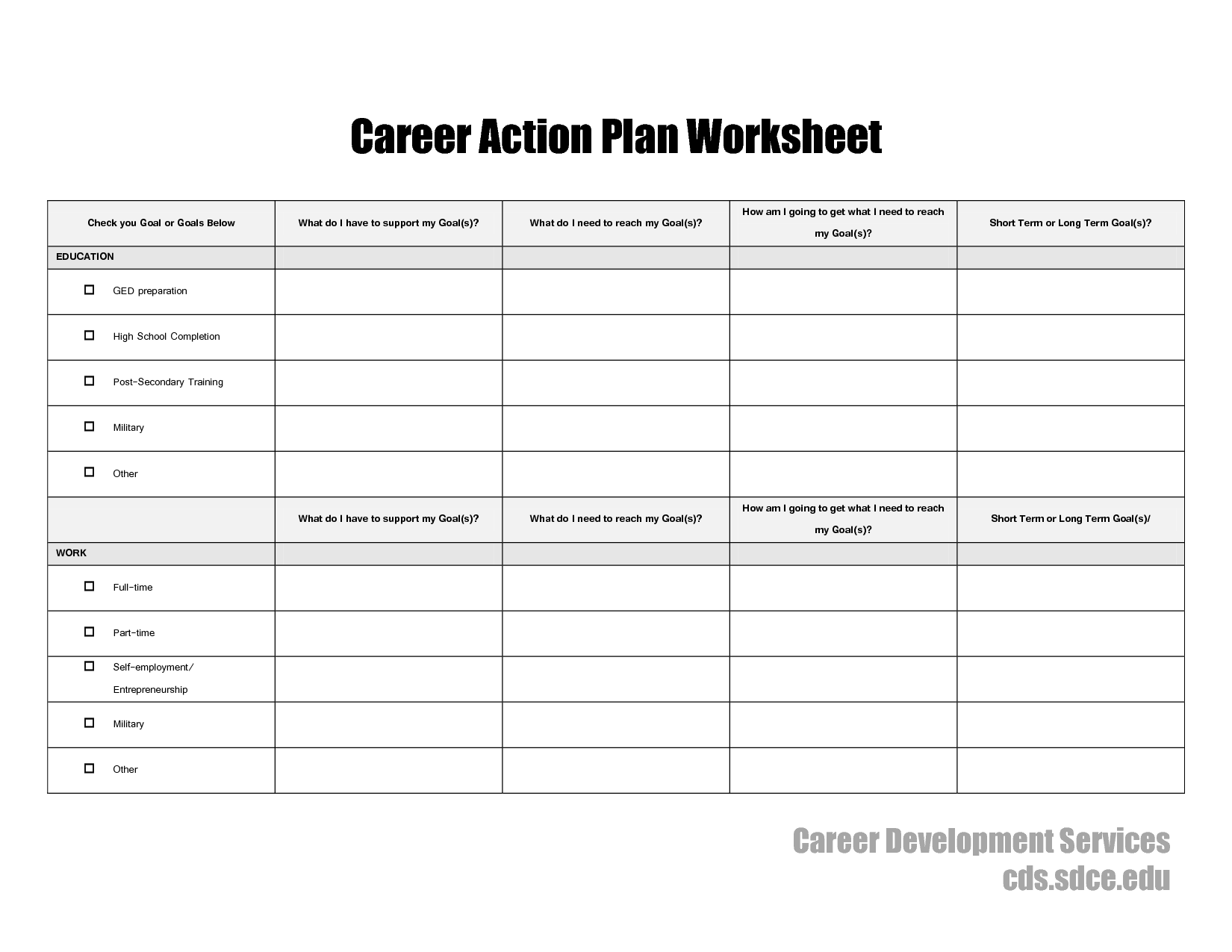 17 Best Images Of Career Plan Worksheet
