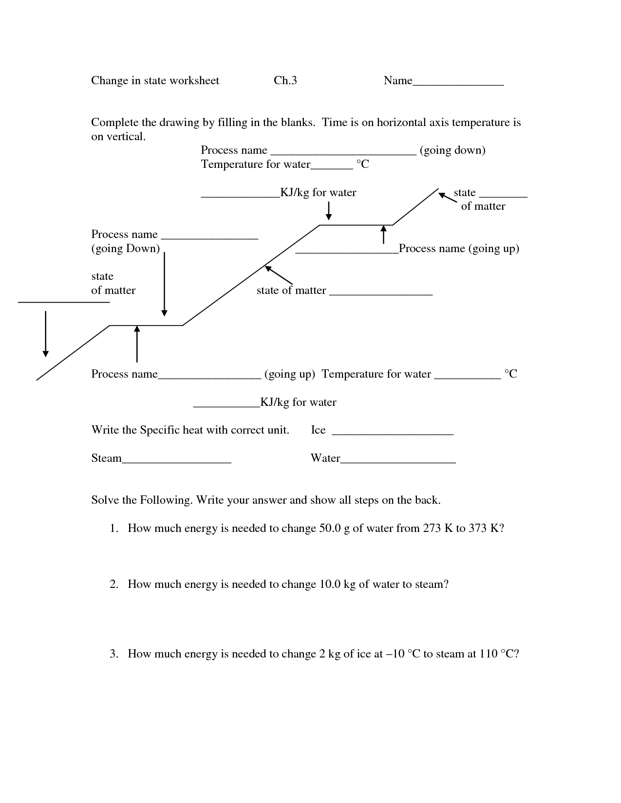Behavior Of Matter Worksheet