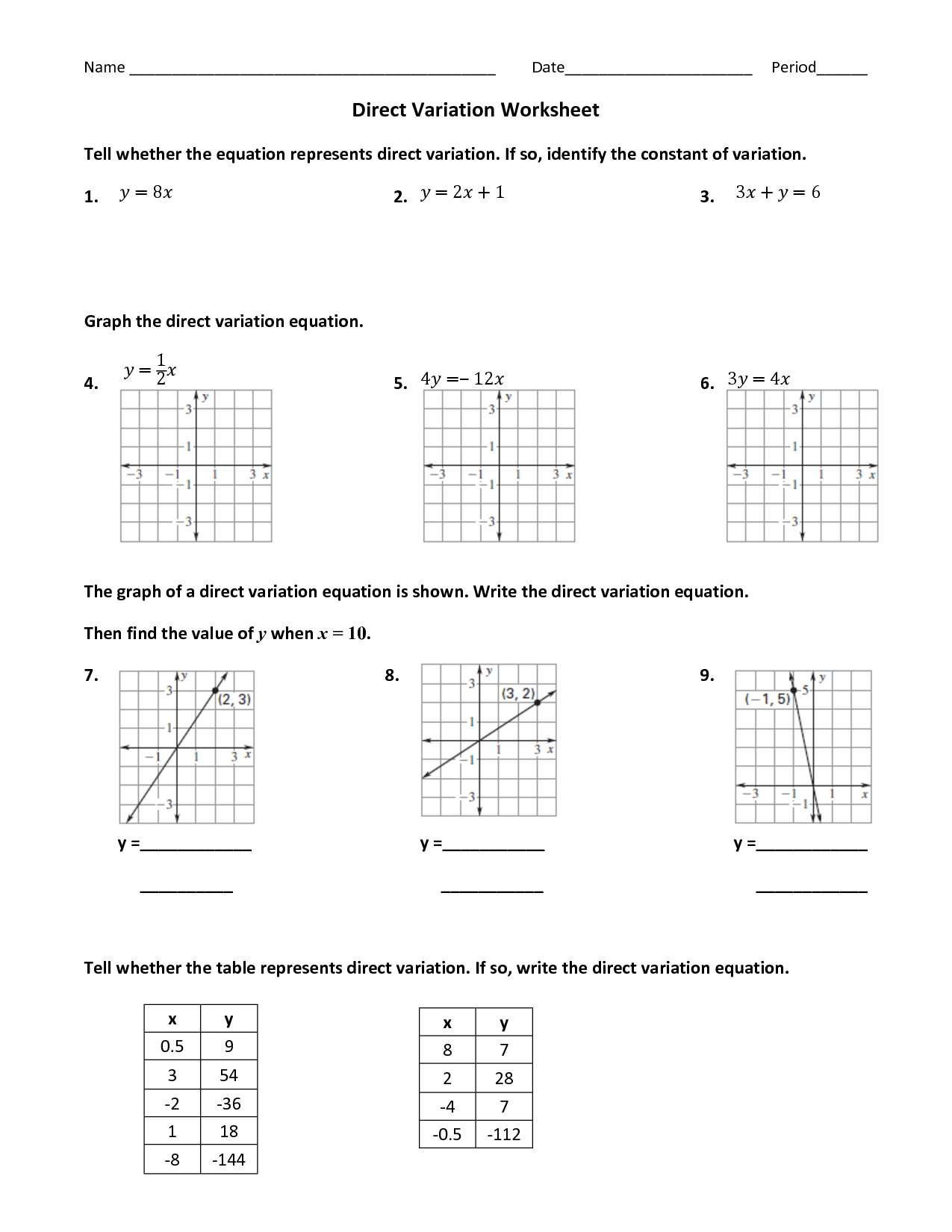 14 Best Images Of Direct Variation Worksheets Printable
