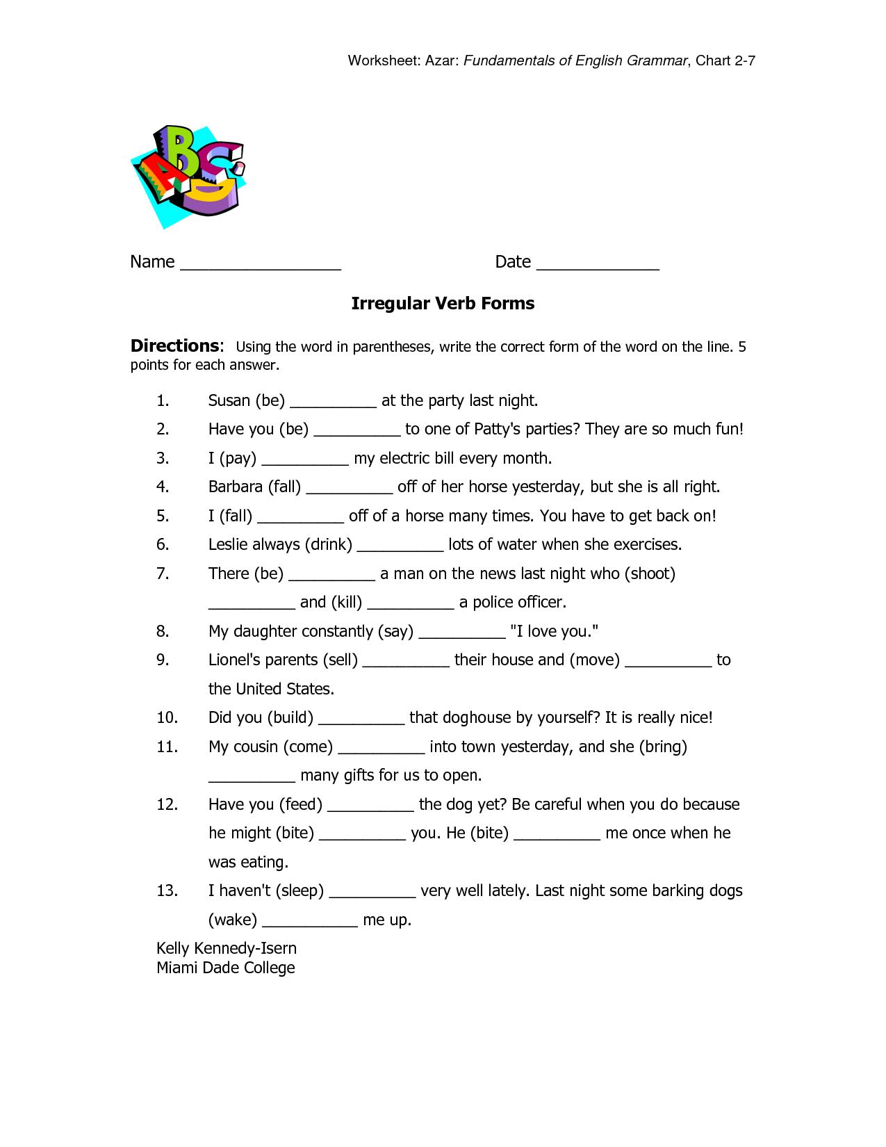 Irregular Past Tense Verbs Worksheet Ks2