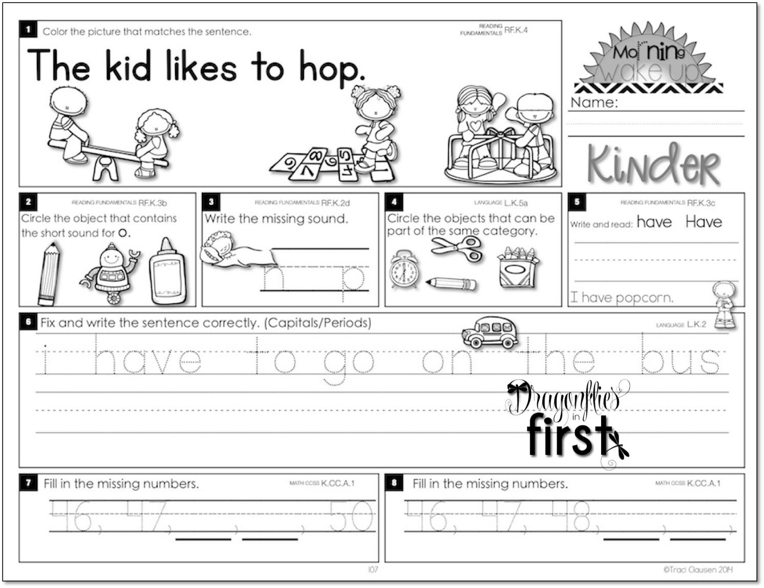13 Best Images Of Morning Work Kindergarten Free