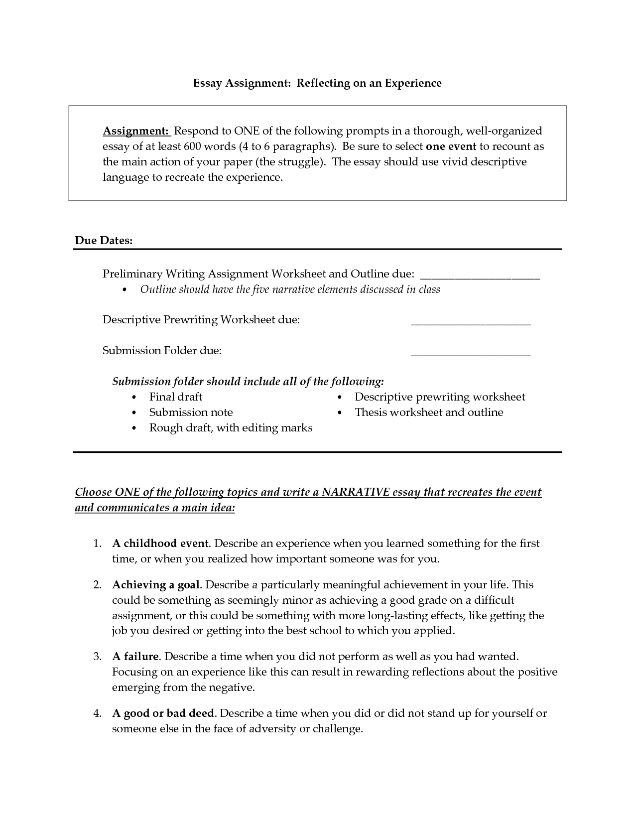 34 Narrative Essay Outline Worksheet