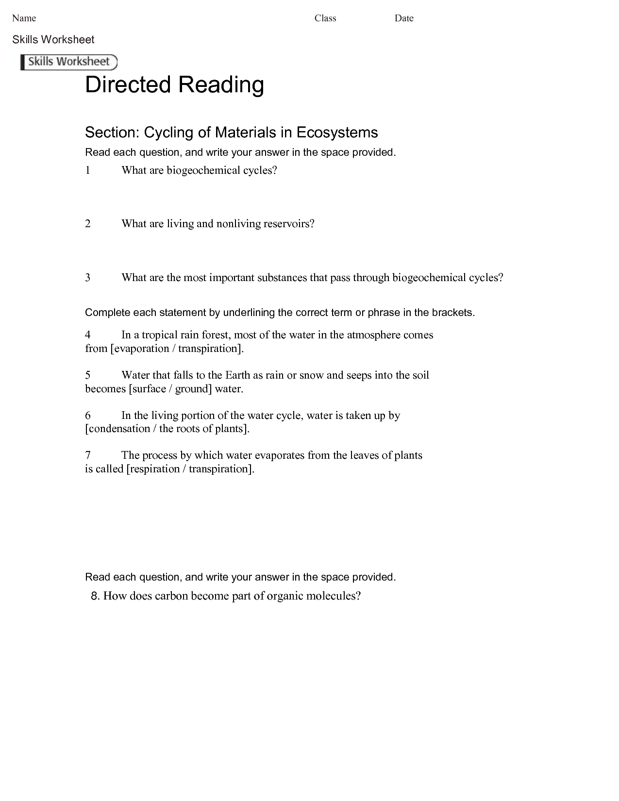 13 Best Images Of Carbon Cycle Worksheet Answers