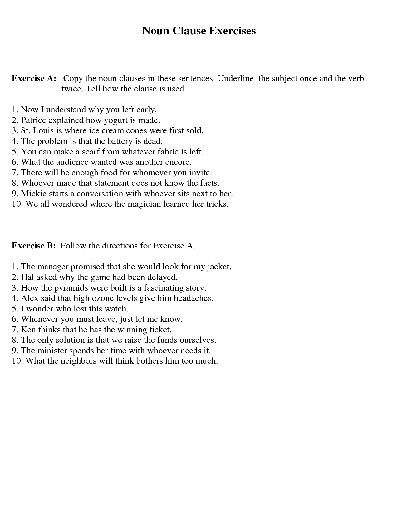 14 Best Images Of Adverb Clause Worksheet With Answer