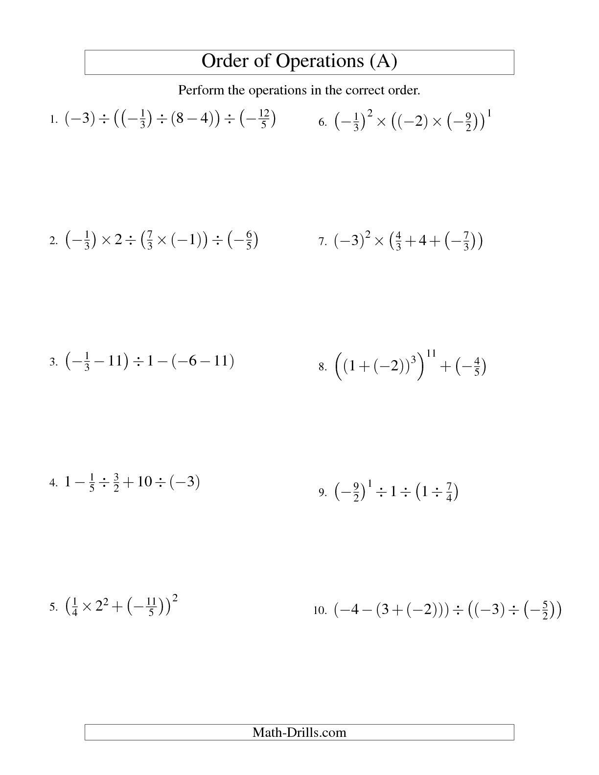 6th Grade Math Worksheet Order Of Operations