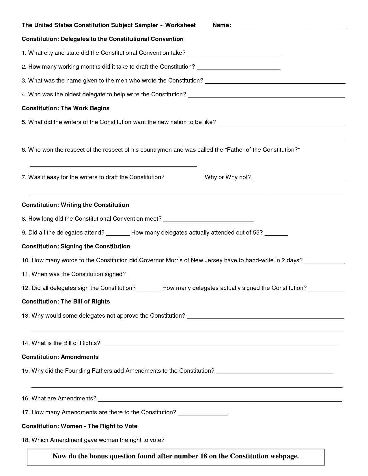 12 Best Images Of Articles Of Confederation And Constitution Worksheet