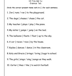 Simple Present Tense Worksheets For Grade 4   Printable Worksheets and  Activities for Teachers [ 1584 x 1224 Pixel ]
