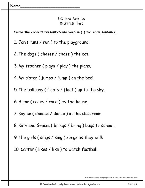 small resolution of Simple Present Tense Worksheets For Grade 4   Printable Worksheets and  Activities for Teachers