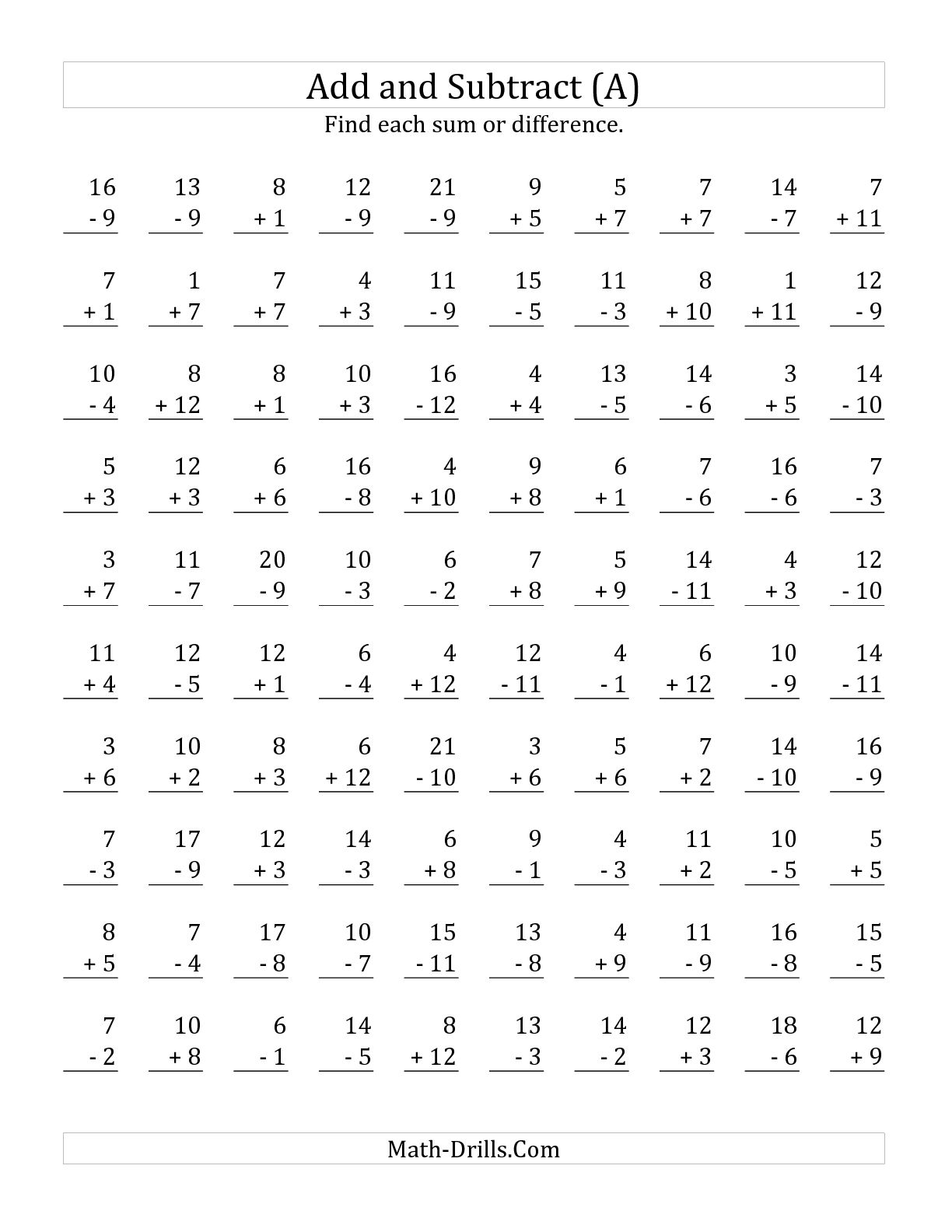 12 Best Images Of Math 100 Addition Facts Worksheet