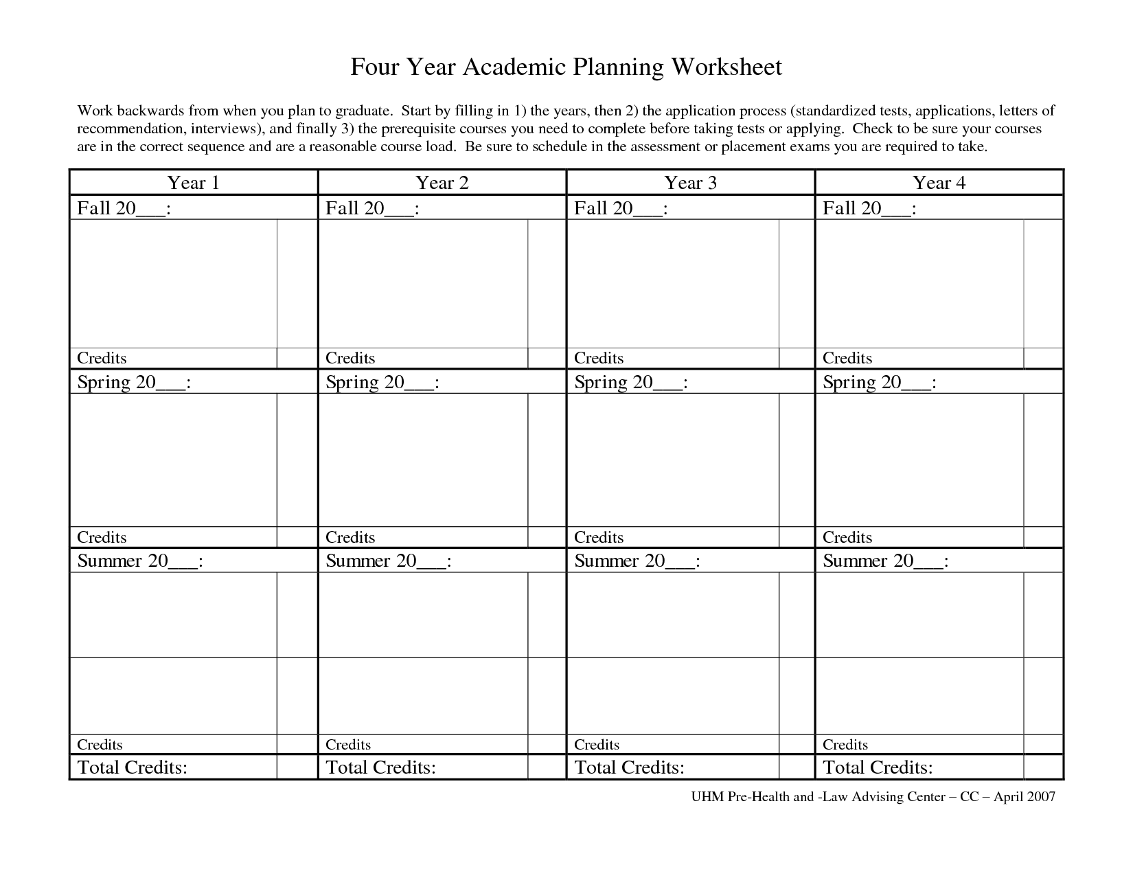 Academic Worksheet