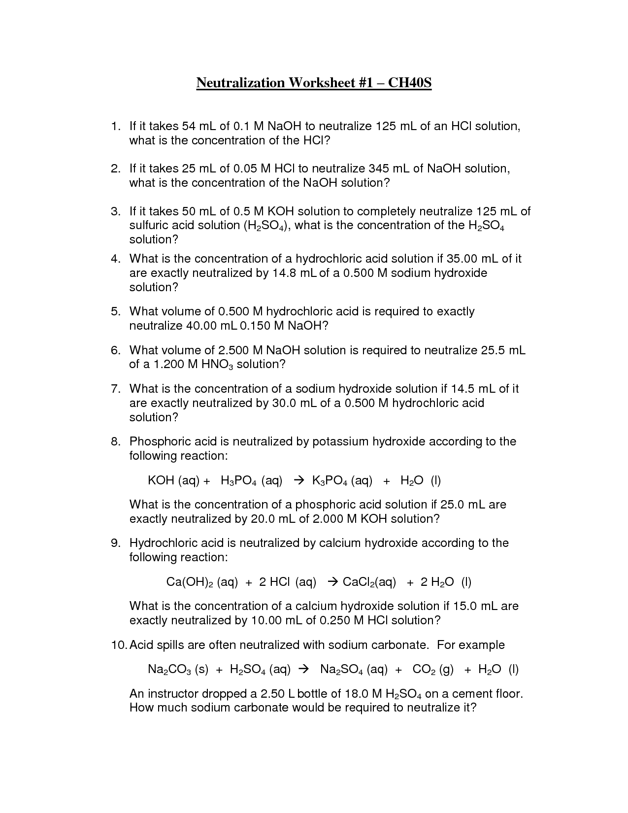 11 Best Images Of Acid And Base Reactions Worksheet