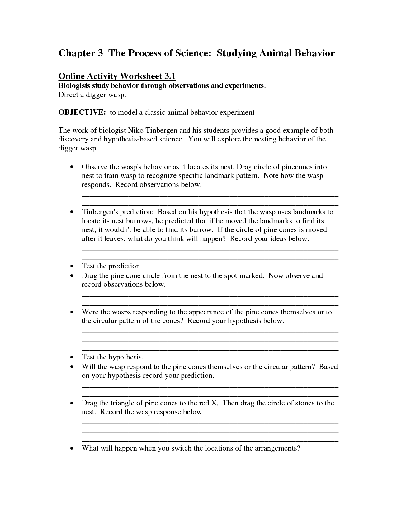 13 Best Images Of Animal Behavior Worksheet