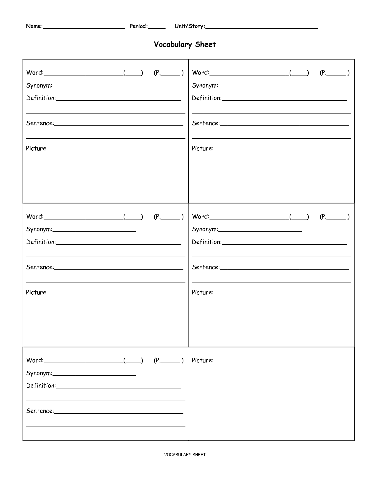 Blank Vocabulary Worksheet Template Doc