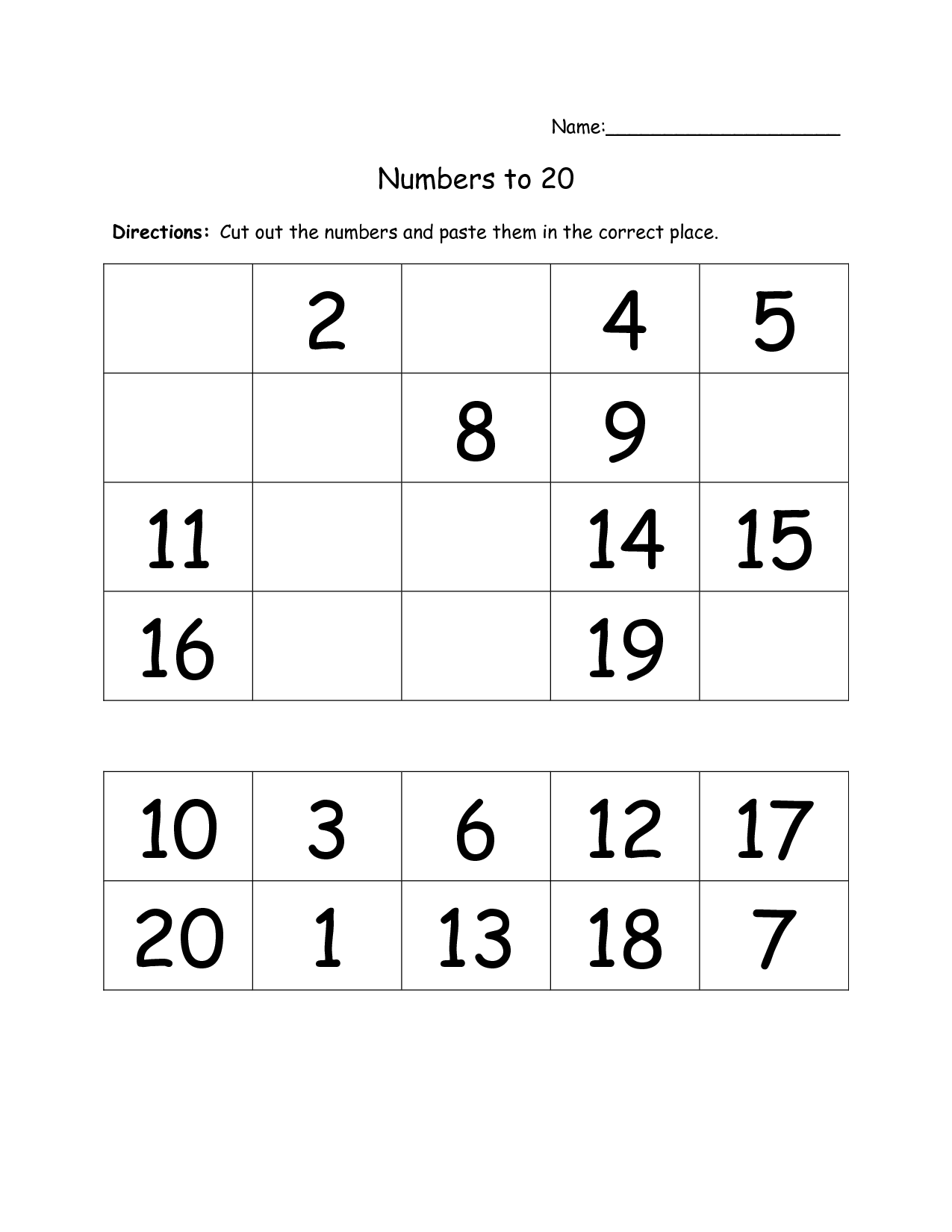19 Best Images Of Cut And Paste Numbers 1 20 Worksheet