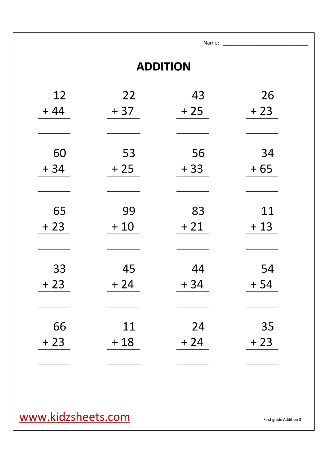 13 Best Images Of Adding Worksheets For First Grade