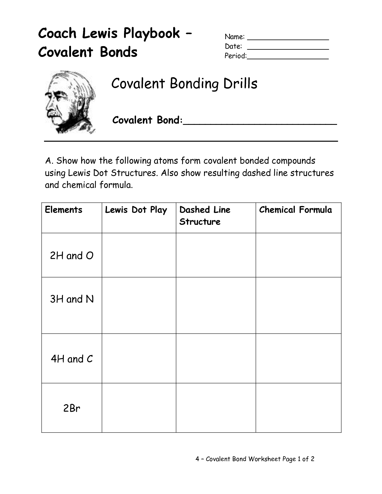 Worksheet Chemical Bonding Ionic And Covalent Part 2