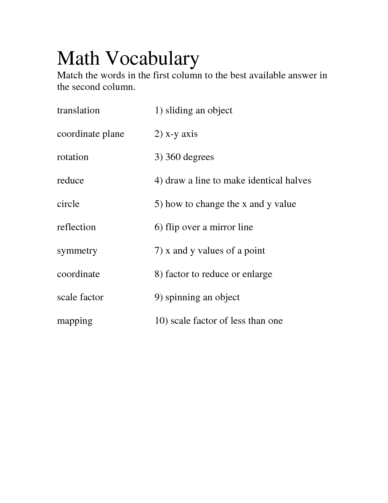 11 Best Images Of Geometry Circle Vocabulary Worksheet