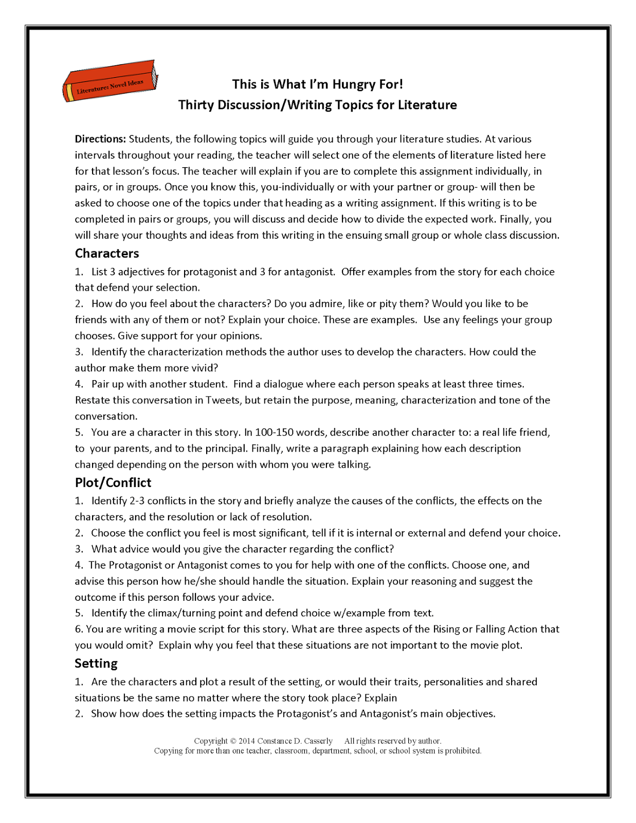 13 Best Images Of Middle School Reading Response Worksheets