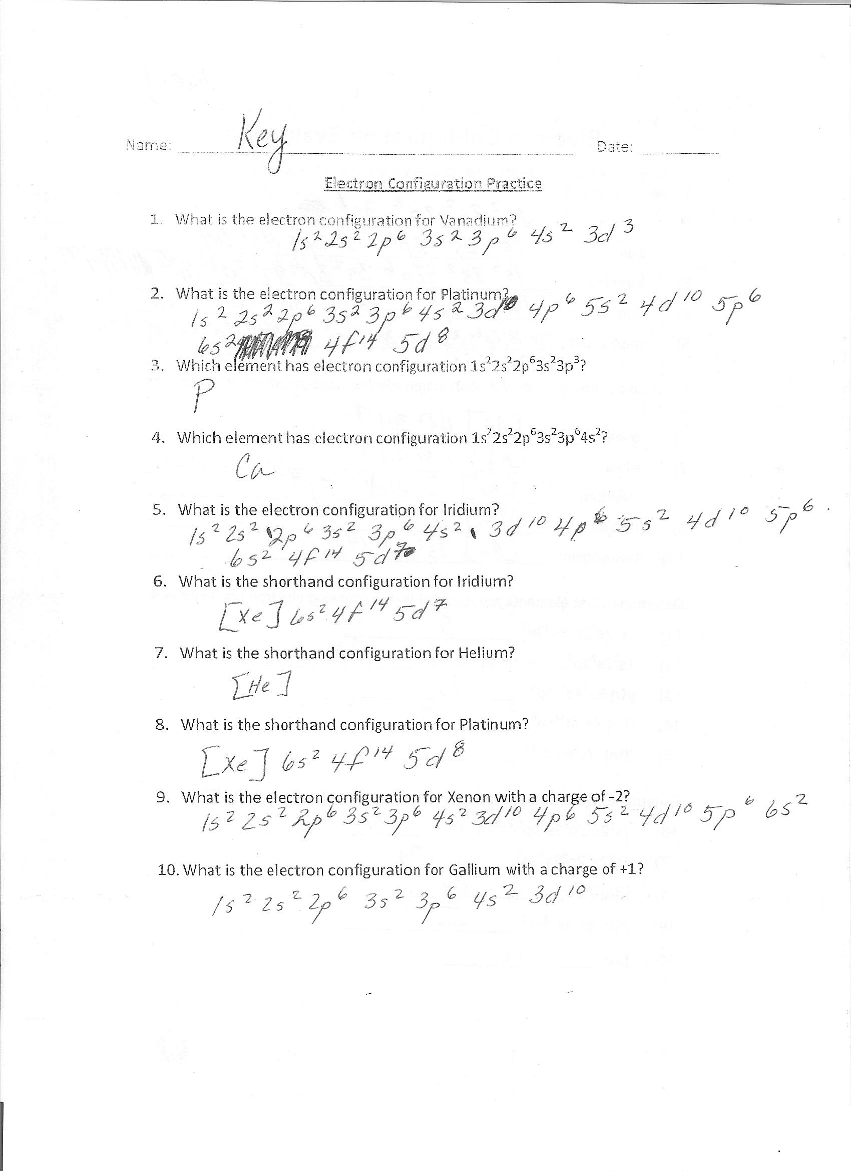 Atomic Structure Worksheet Honors Chemistry
