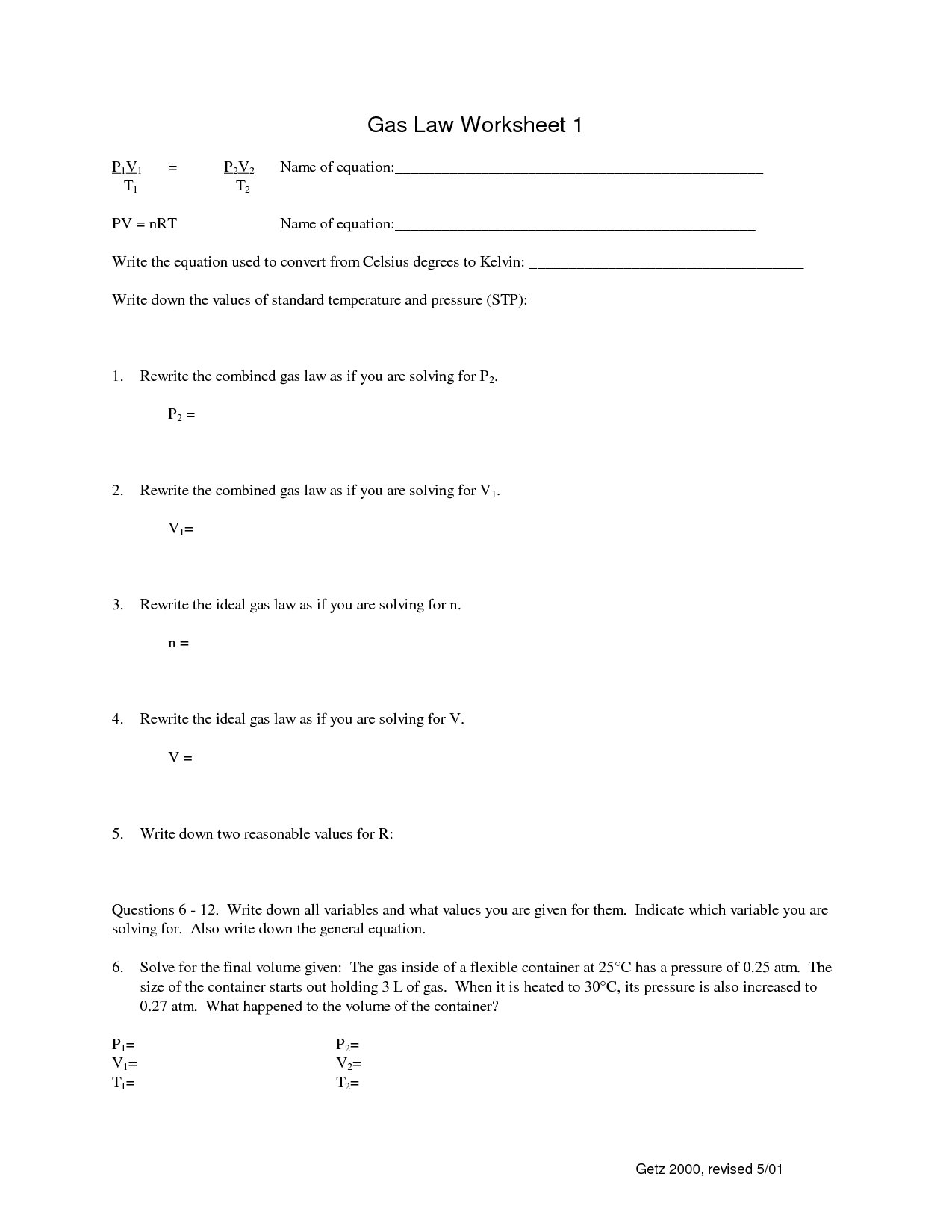14 Best Images Of Boyle S Law Worksheet Middle School