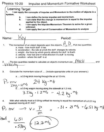 Worksheet On Momentum Answers