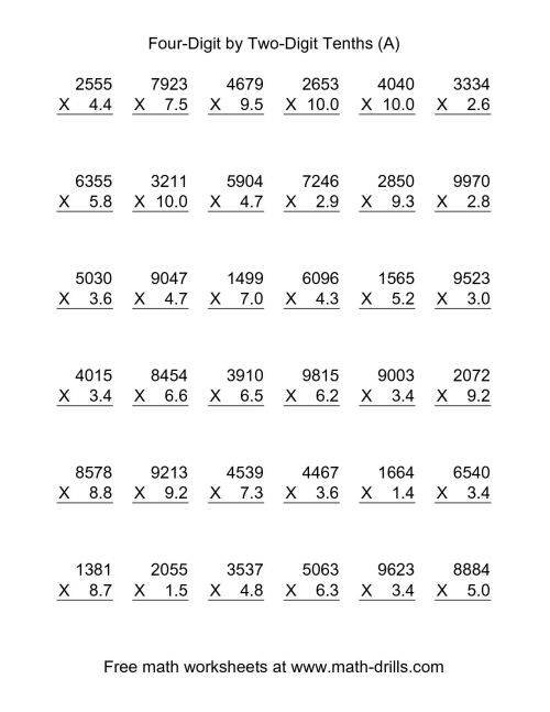 small resolution of Multiplying Decimals By Whole Numbers Worksheet   Printable Worksheets and  Activities for Teachers