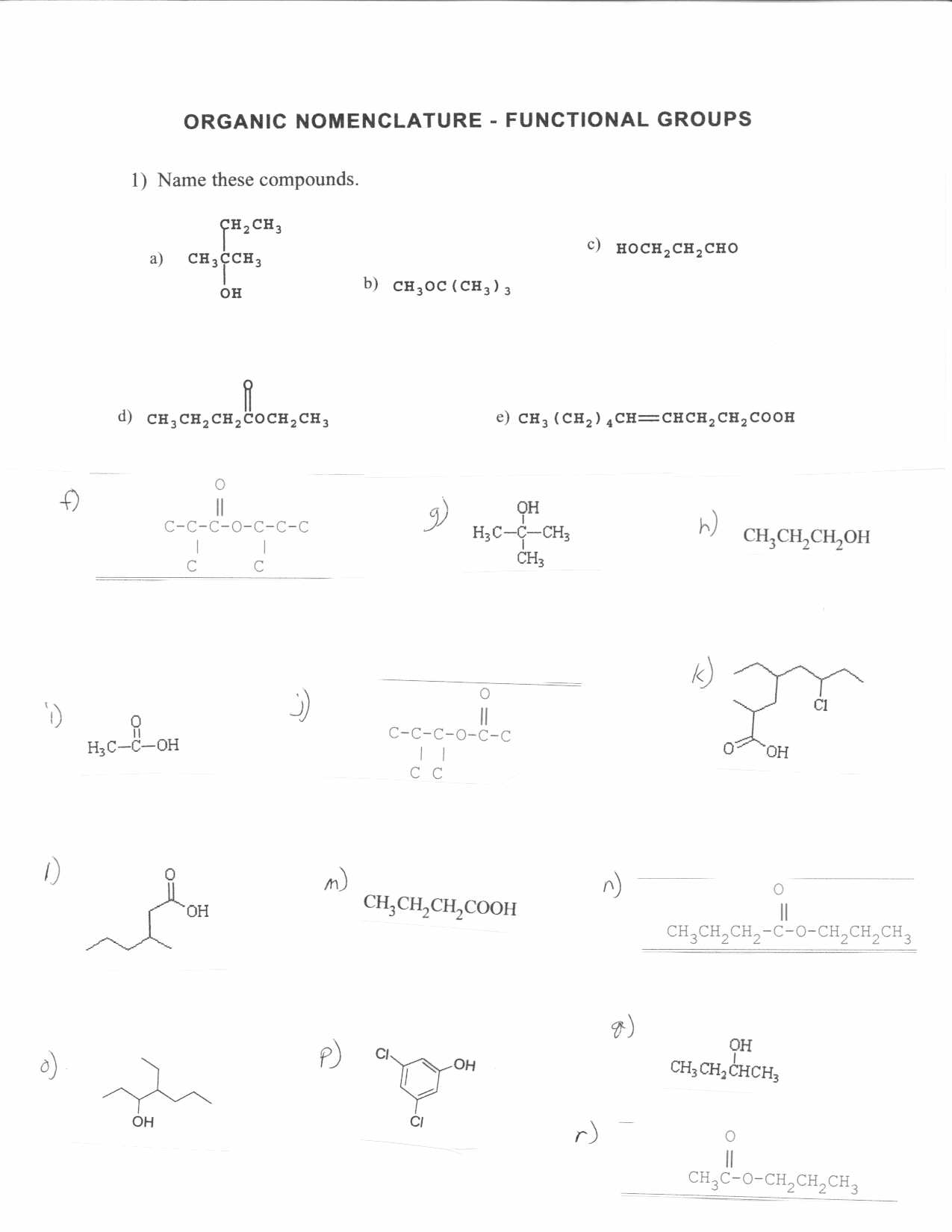 15 Best Images of Naming Functional Groups Practice