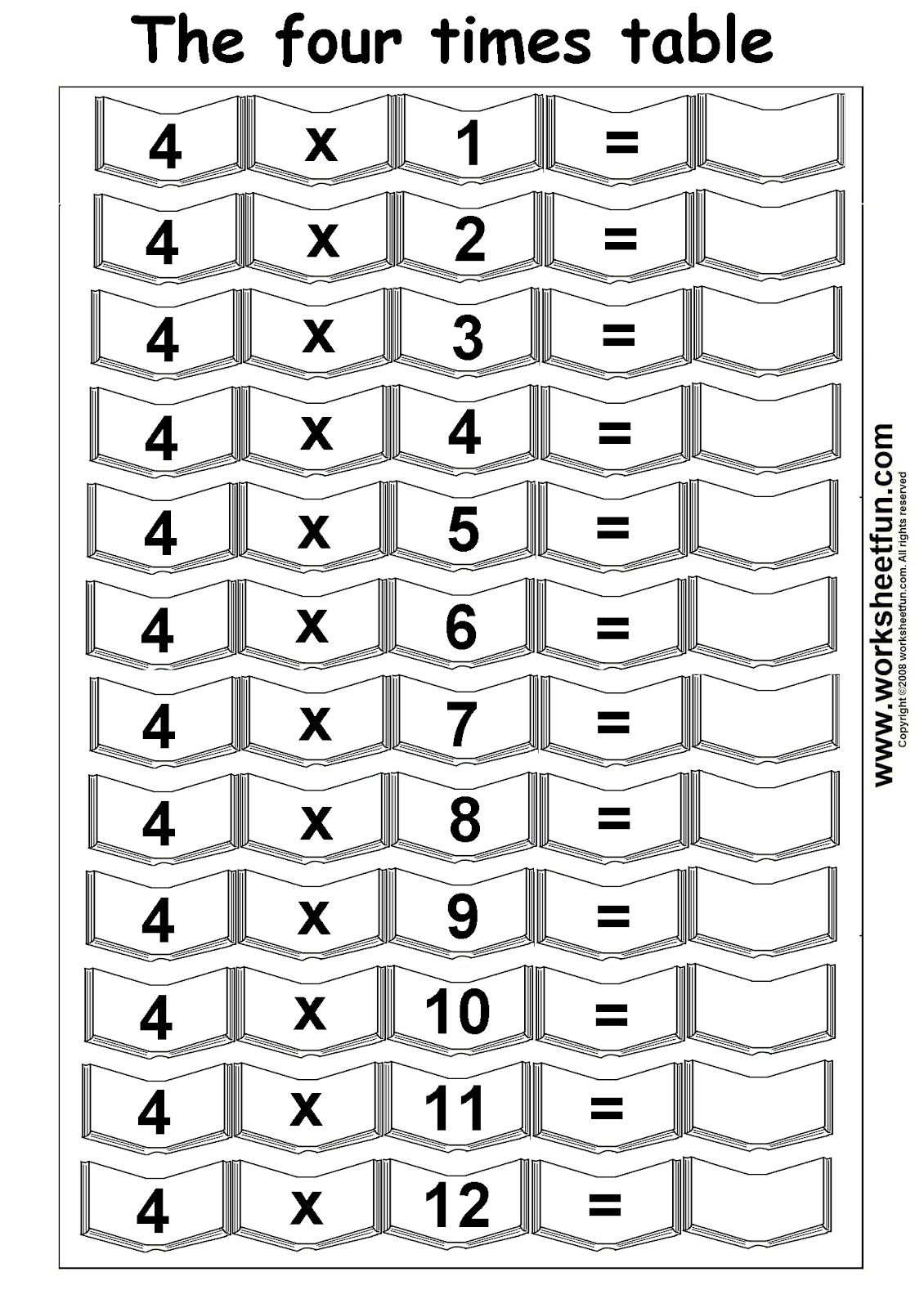 9 Best Images Of 4 Times Table Worksheet Printable